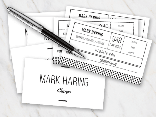Business card template in black and white