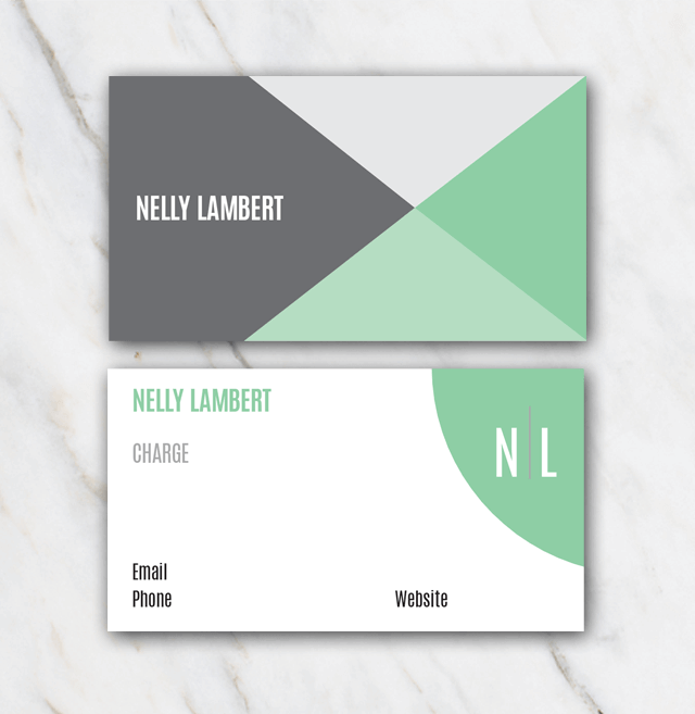 Nelly Lambert business card template with green grey and white colors