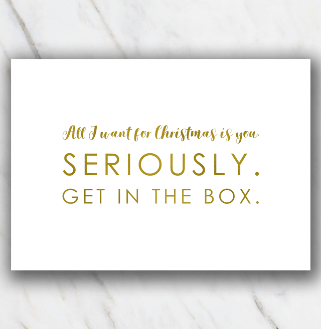 Christmas quote get in the box - white background