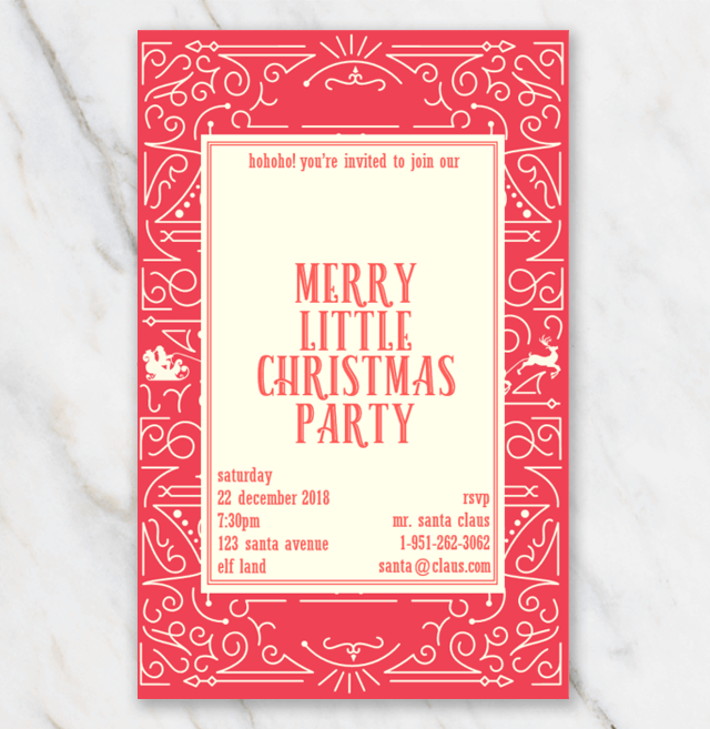 Christmas invitation template in red