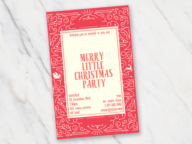 Christmas invitation party saying merry little christmas