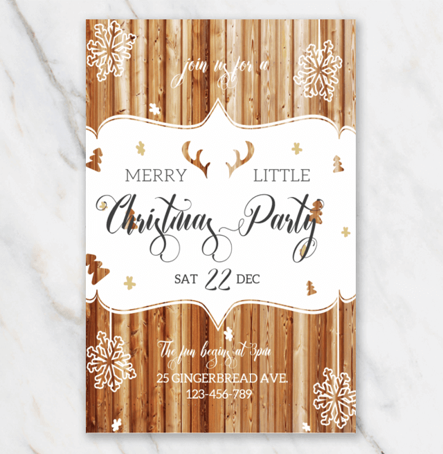 Christmas Invitation Template In Word For Free Wooden