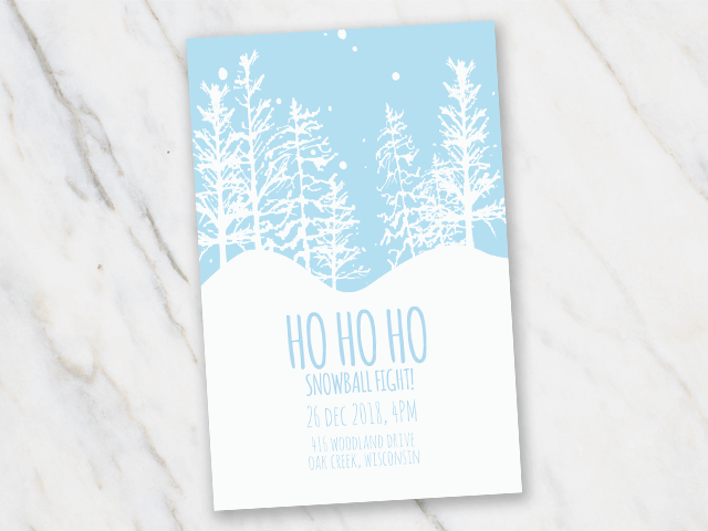 Christmas party invitation with light blue and white featuring a snowball fight