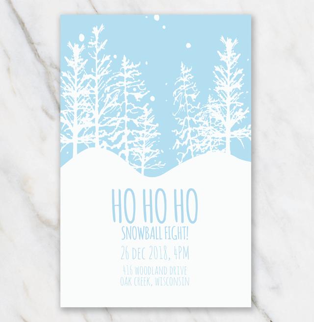 Christmas invitation template snowball fight