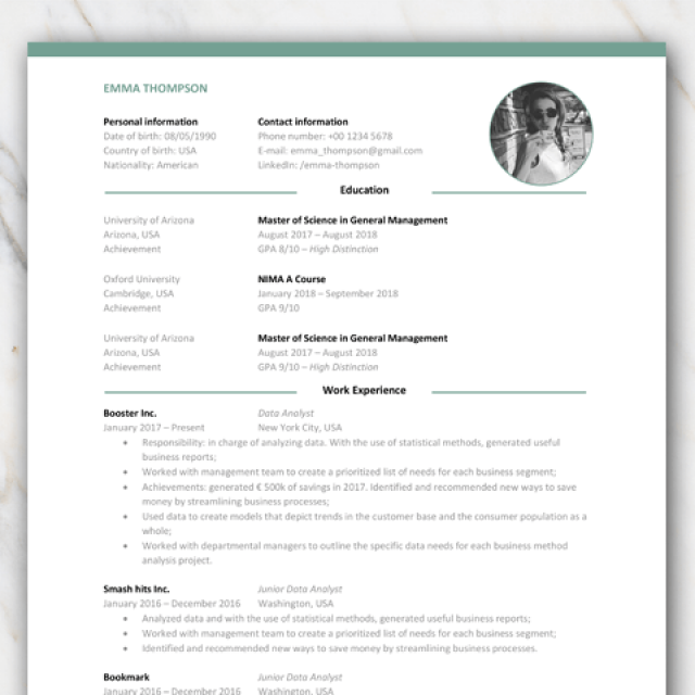 1 page resume CV for college graduates with or without icons and with green elements