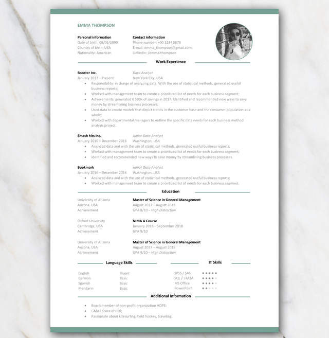 Cv Resume Template For Consultants Free Download