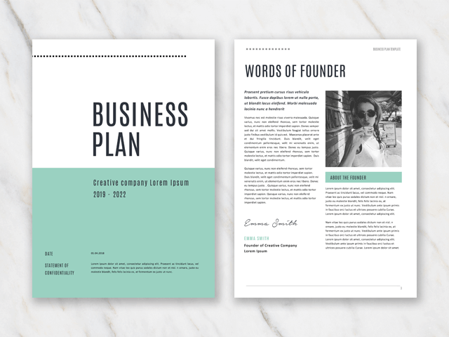 Cover page and words of founder page of business plan with green colors