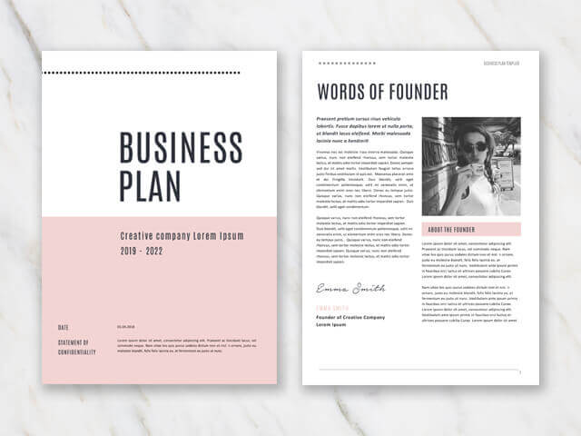 Business plan template in Word - example of first and second page