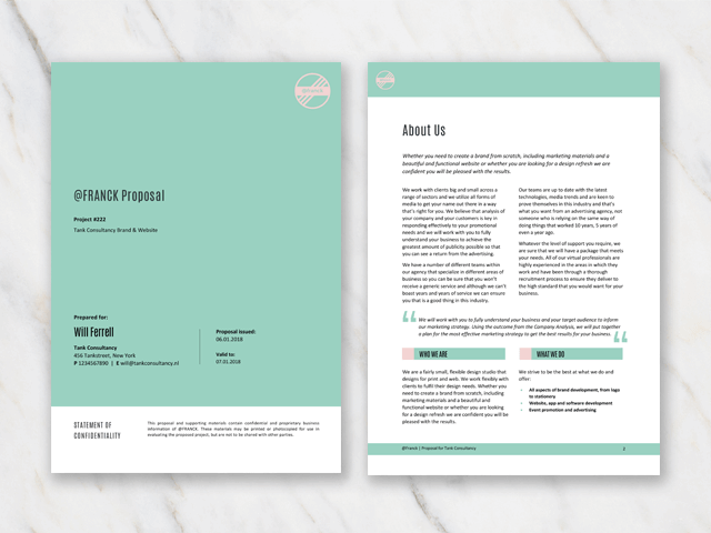 Cover and second page of a business project proposal template in Word