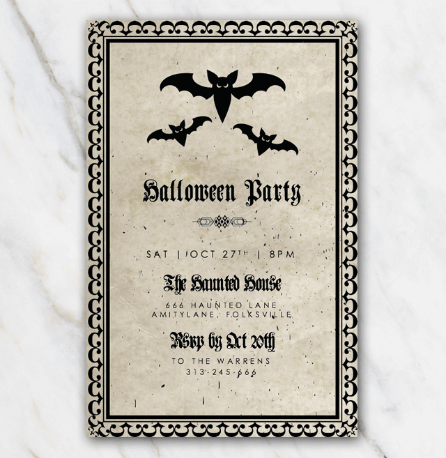 Halloween invitation template with bats - dracula style