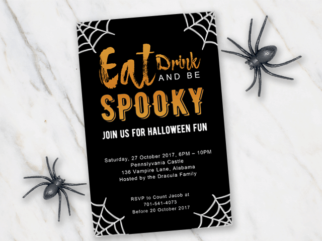 Halloween invitation tempolate with spiderweb