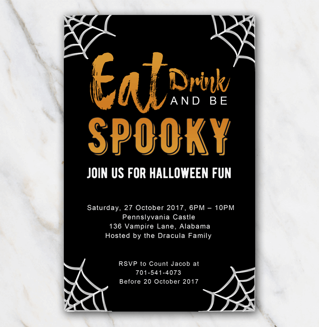 spider halloween invitation template in word free of charge
