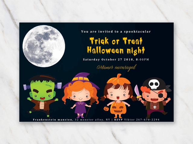 Halloween party invitation for trick or treat for children