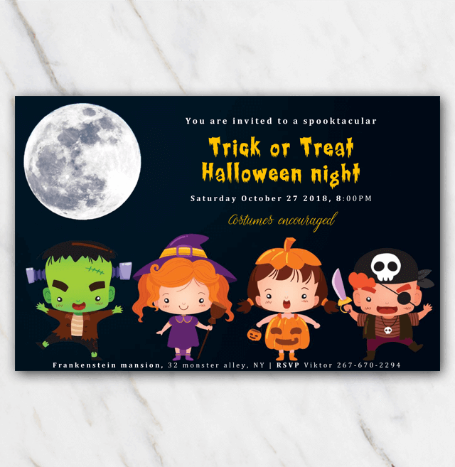Halloween invitation for trick or treat with children wearing costumes