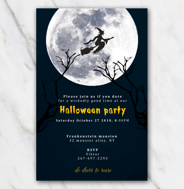 Halloween party invitation with witch on broom with moon