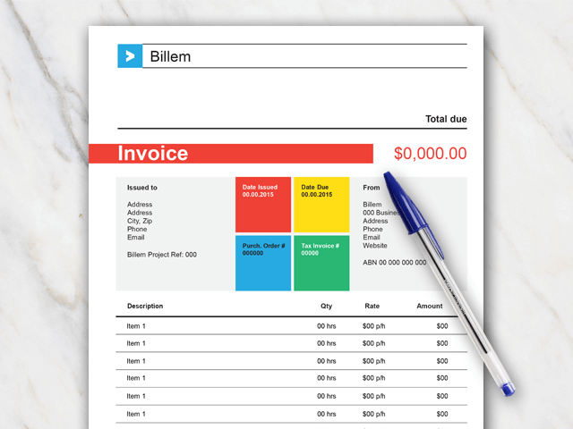 Invoice template for Word with red green blue and yellow colors