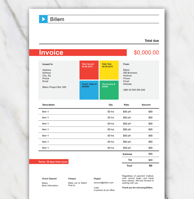 Billem invoice Template for Word
