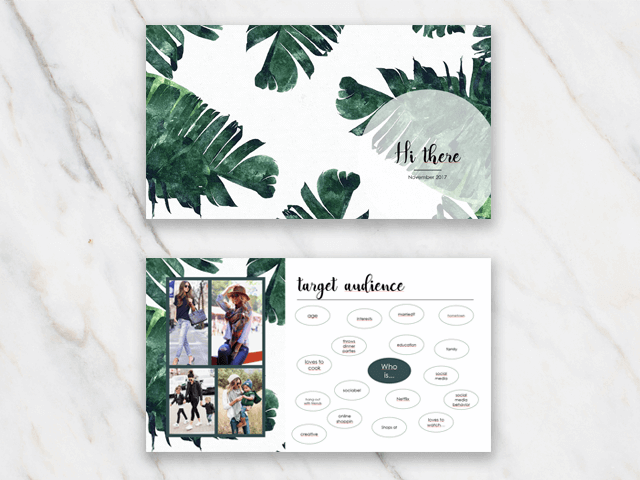 Two slides of a Powerpoint Presentation template with a banana leaf template