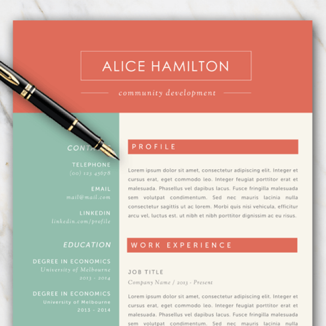 Clean and professional looking resume template with picture example of resume template with green red and off white color palette toneelgroepblik Choice Image
