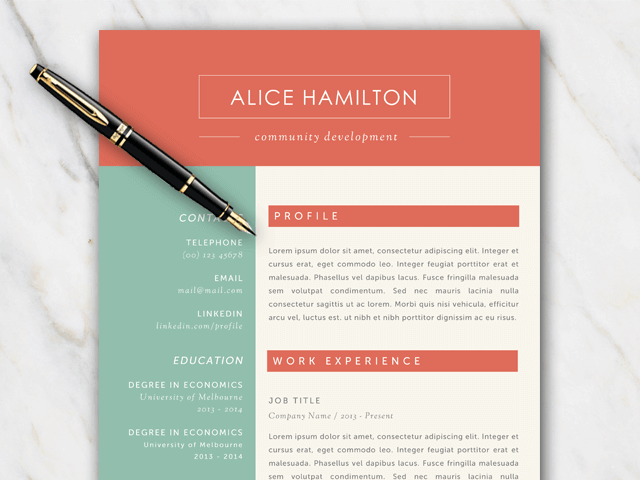 Example of resume template with green red and off-white color palette