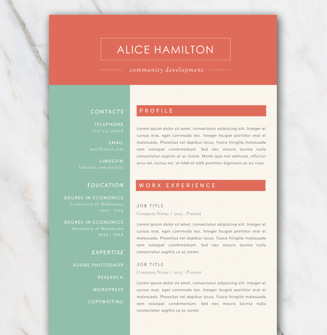 resume template with gree  red and off