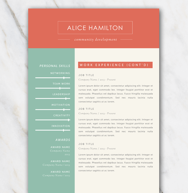 Second page of resume template with green, red and off-white color palette