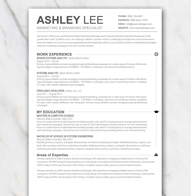 1 Page Resume Template Without Any Colors Temploola
