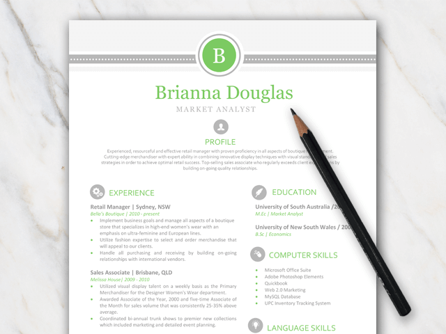 1 page resume template with vibrant green and grey colors