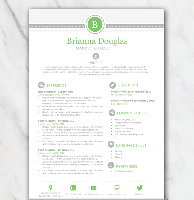 1 Page Resume Template With Green And Grey Colors