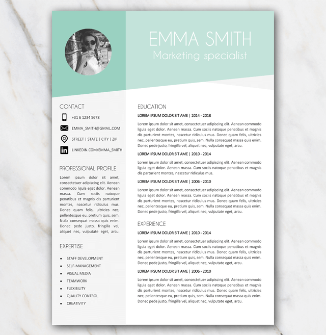 Page 1 of Emme Smith green and grey resume template with picture
