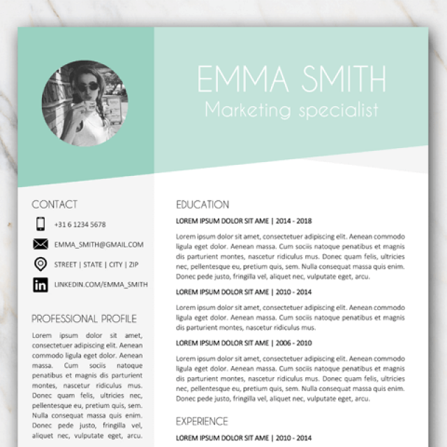 Part of page 1 of resume template of Emma Smith with green and grey colors
