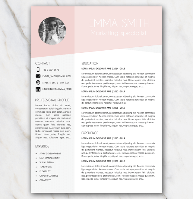 Free resume template in Word with pink and grey colors and ...