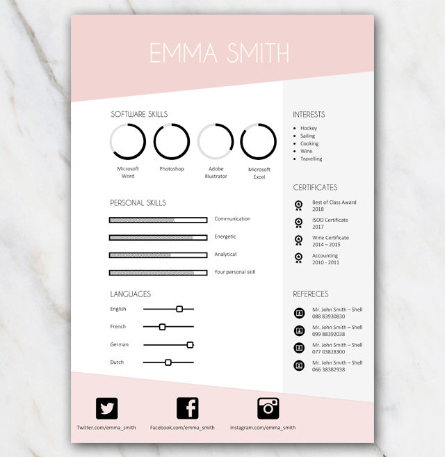 free resume template in word with pink and grey colors and