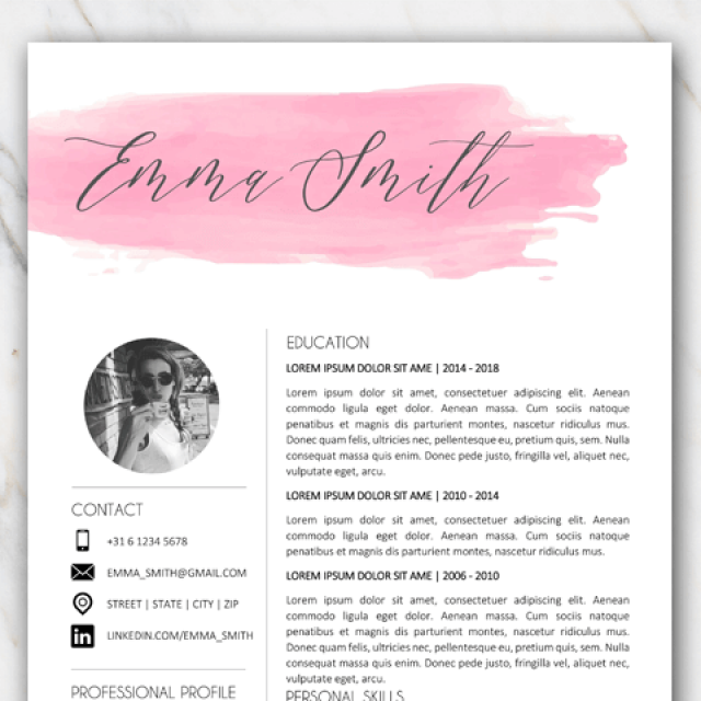 Example of first page of free resume template in Word with watercolor brushstroke