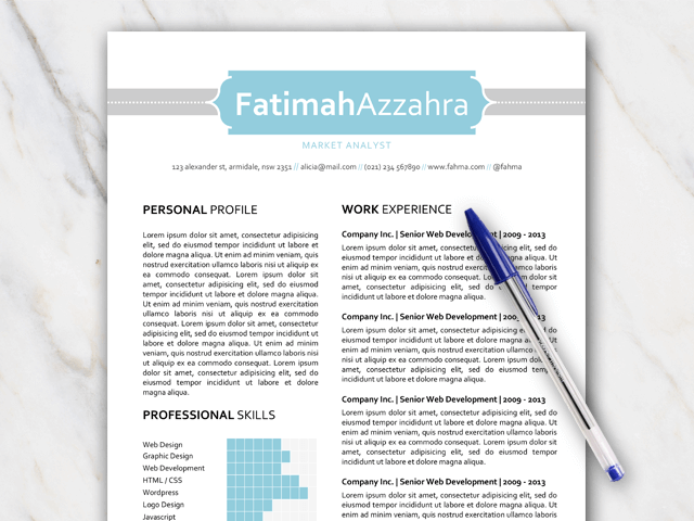 Blue and grey 1 page resume template professionaly designed