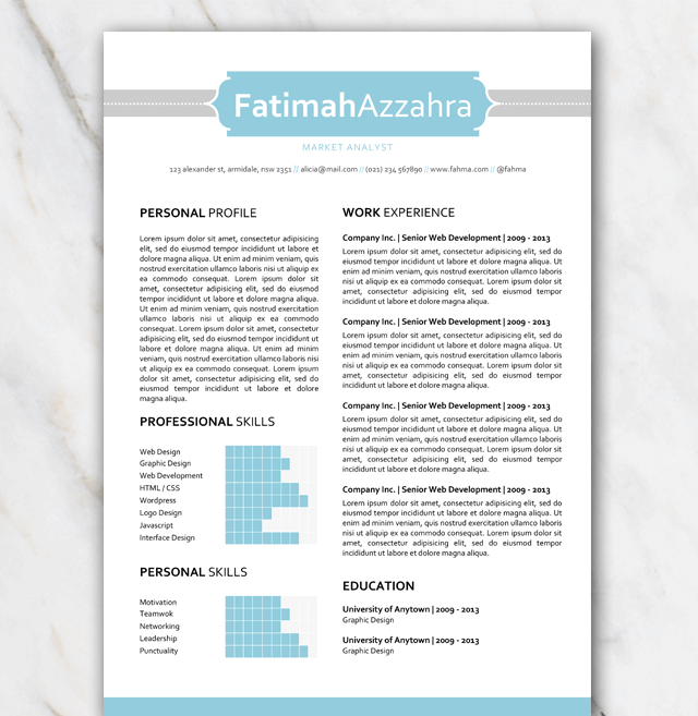 professionaly designed blue and grey resume template 1 page