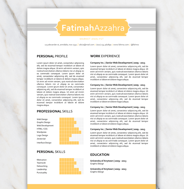 1 page resume template with yellow and grey colors