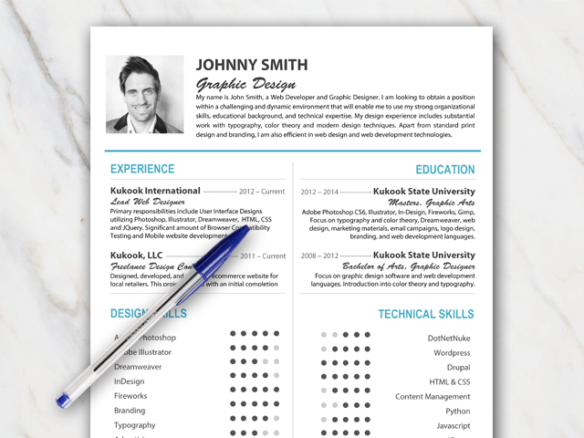 John Smith resume template with minimal text and blue and grey colors including picture