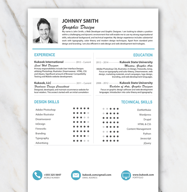 clean and professional looking resume template with picture