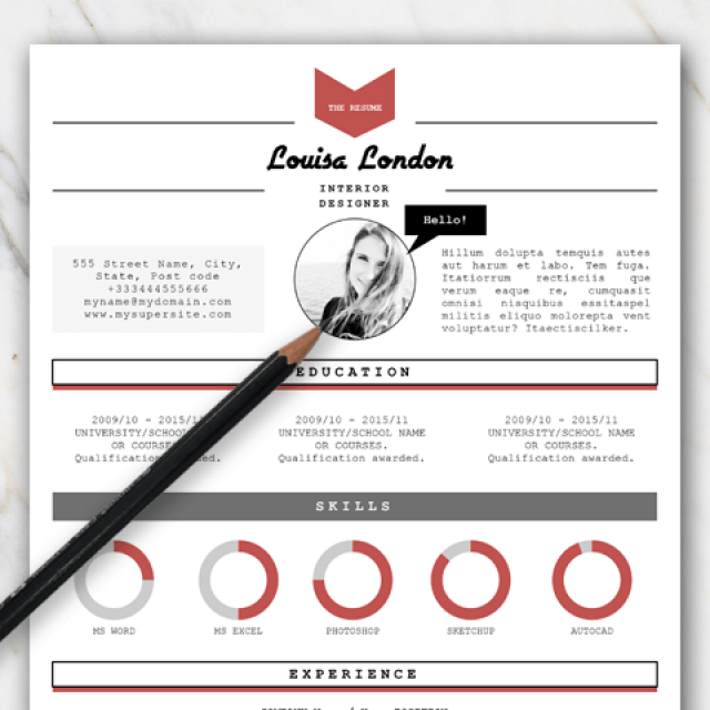 Example of resume template in Word with red black and grey colors