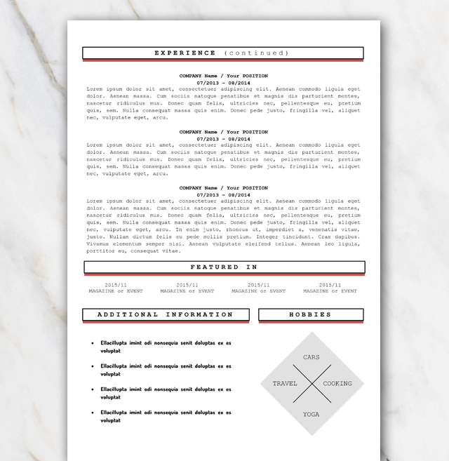 Second page of the Louisa London free resume template in Word with red signal colors