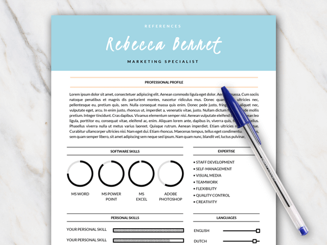 Example of first page of turquoise and orange resume template