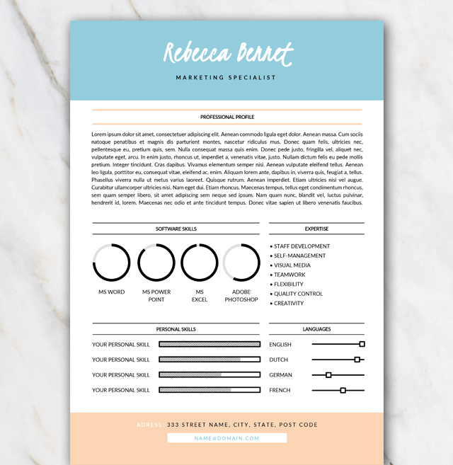 first page of resume template in word with turquoise and orange colors - Resume Template Color