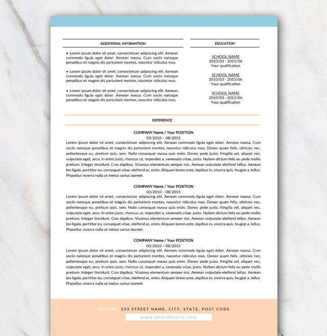 Second page of resume template in Word with birght turquoise and orange colors