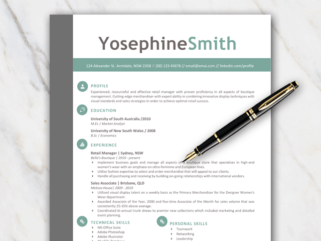 Example of 1 page resume template with grey, green and black colors