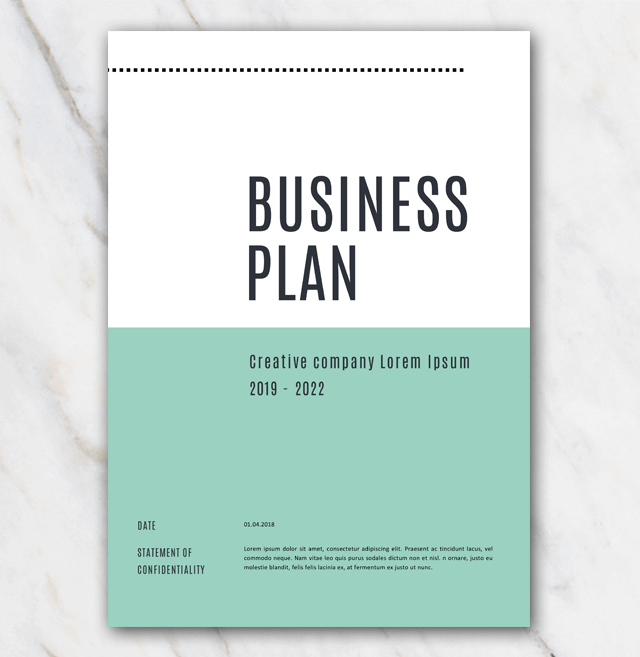 Cover page of green creative business plan template