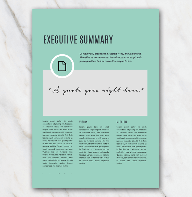 Second page with executive summary of business plan template