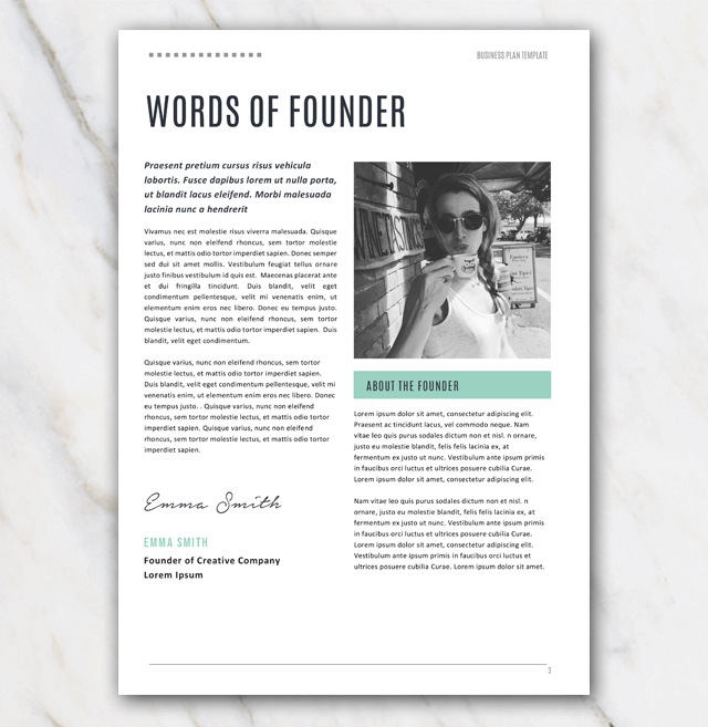 Words of founder on page 3 of business plan template