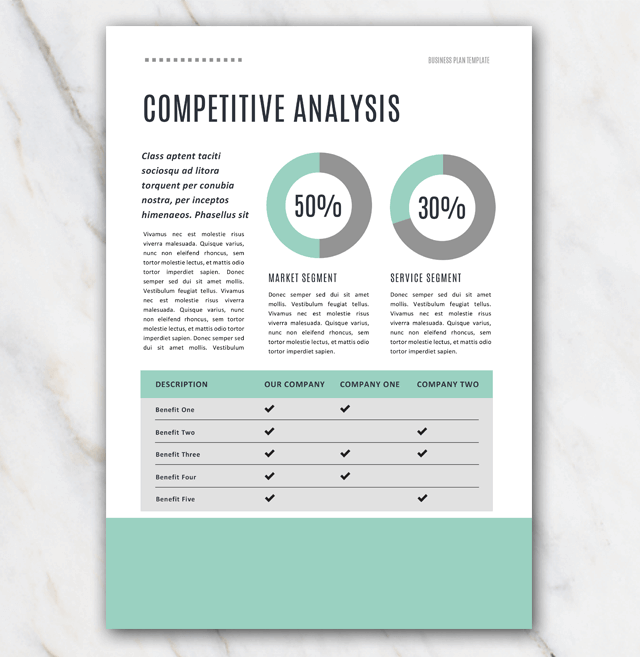 Competitive analysis section in business plan template