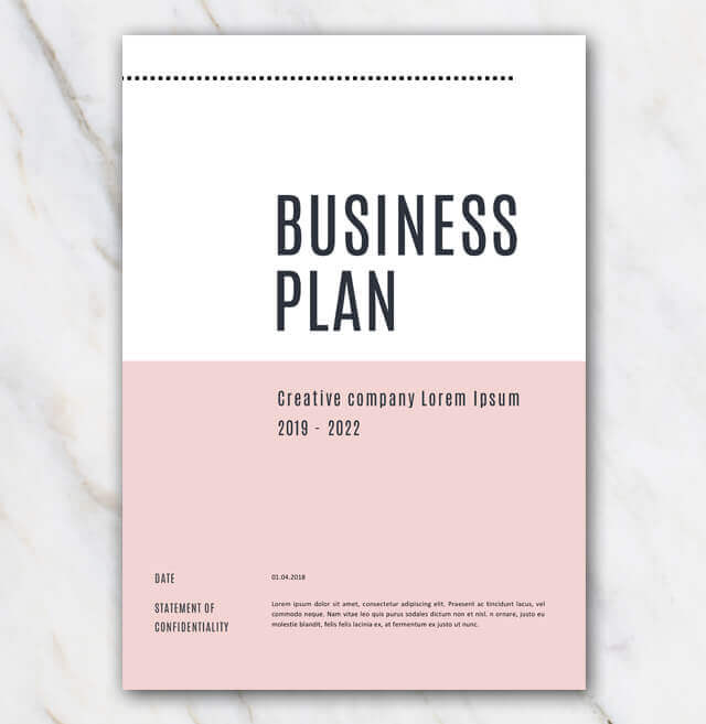 Business plan template - pink & stylish - in Word for free